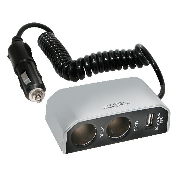 Image of Carpoint 2-weg aanstekerdoos met USB 23432