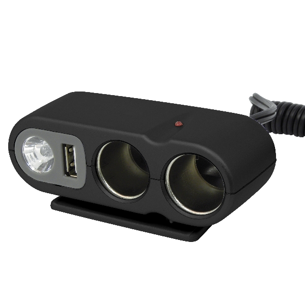 Carpoint 2-weg stekkerdoos met USB en licht 23434