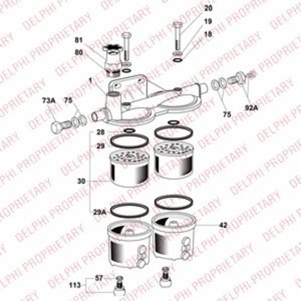 Image of Delphi Diesel Brandstoffilterhuis 6300B040A