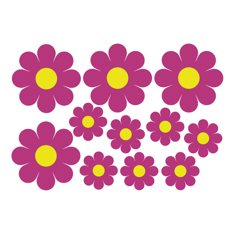 Image of Mijnautoonderdelen Auto Tattoo Flowers Pink/Yellow 50x AV 109142